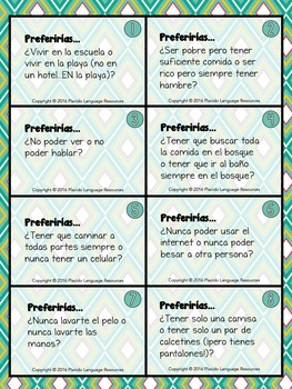 ¿Cuál Preferirías? Would you rather? Spanish Task Cards