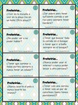 ¿Qué preferirías? Would you rather? Spanish Task Cards