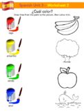 ¿Cuál color? Colors in Spanish worksheet FREE