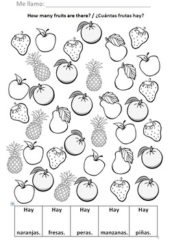 ¿Cuántas frutas hay? How Many Fruits Are There? Fruits in Spanish