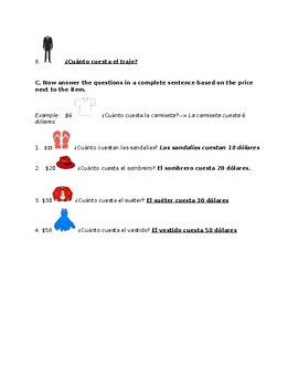 ¿Cuánto cuesta(n)? How Much Does It Cost? Spanish Practice Sheet