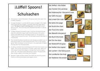 ¡Löffel! Spoons! A fun game to learn about school supplies (German)
