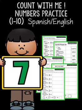 ¡Cuenta Conmigo! Count with Me! Spanish/English Numbers (1-10) Math Practice