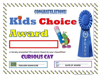 """""""Curious Cat"""" KIDS CHOICE AWARD- For Primary or Middle School Grades Children!"""