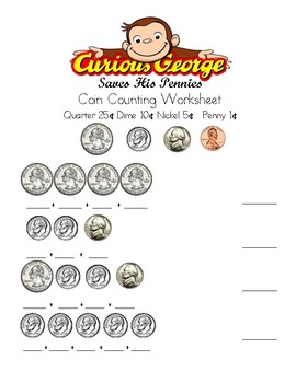 "Coin Counting Worksheet ""Curious George Saves His Pennies"""