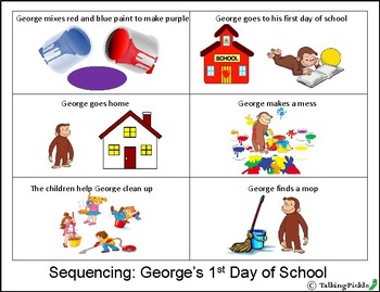 """""""Curious George's 1st Day of School"""" Speech Activities"""