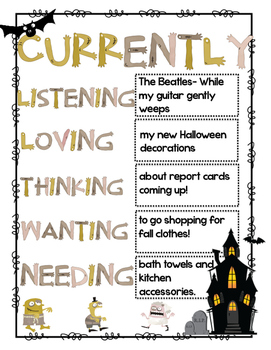 """""""Currently"""" Halloween Zombie worksheet to fill out"""