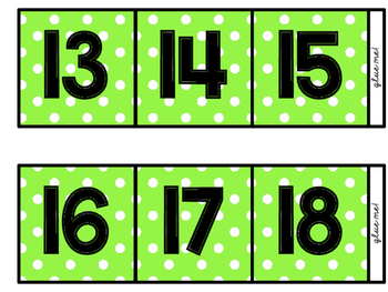 *Custom Lime Green* Polka-Dot Counting the Days (to 100)