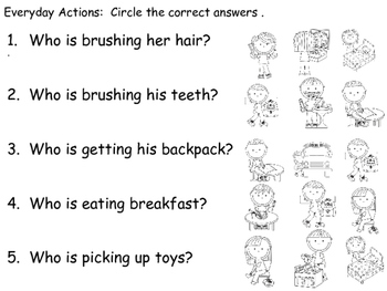 "Speech Therapy ""DAILY ROUTINE ACTIONS"" Adapted Books (Color & B/W) ""IS/Pronouns"
