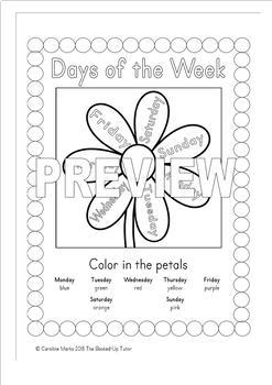 {Days of the Week} {days of the week worksheets} {days of the week activities}