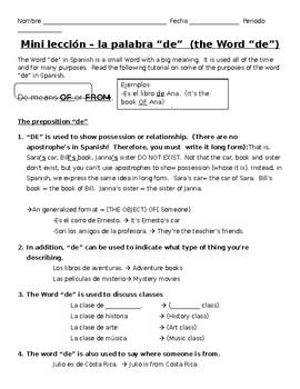 """DE"" mini lesson: Uses and Rules with the preposition ""de"""