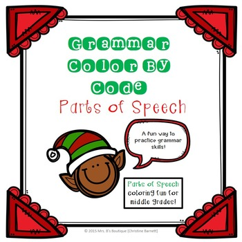 December Holidays Parts of Speech Grammar Practice - Color By Code!