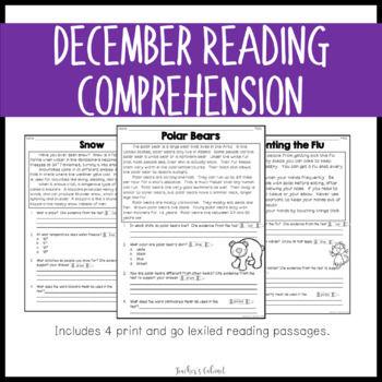 {DECEMBER} Lexiled Reading Comprehension Passages