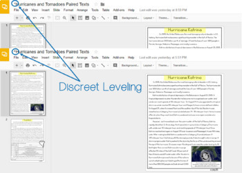 [DIGITAL CLASSROOM] Leveled Paired Texts Passages: Natural Disasters Grades 4-8