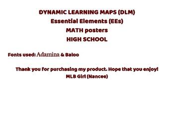 (DLM) Essential Elements MATH posters HIGH SCHOOL