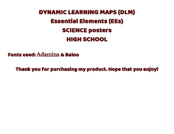 (DLM) Essential Elements Science High School Posters