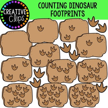 {DOLLAR DEAL} Counting Dinosaur Footprints {Creative Clips Clipart}