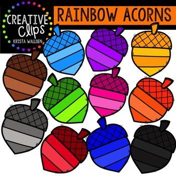 Rainbow Acorns {Creative Clips Digital Clipart}
