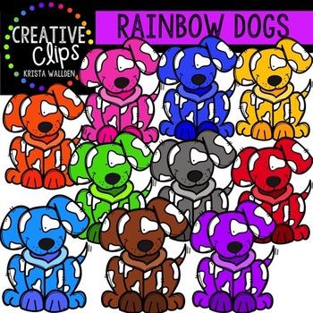 Rainbow Dogs {Creative Clips Digital Clipart}