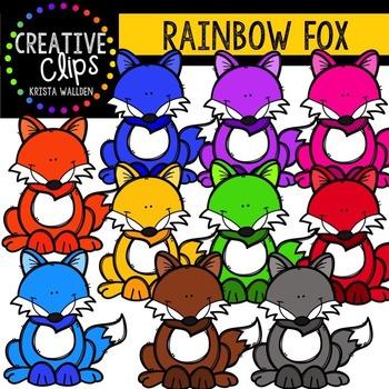 Rainbow Fox {Creative Clips Digital Clipart}