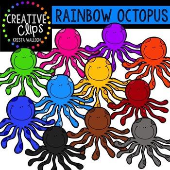 Rainbow Octopus {Creative Clips Digital Clipart}