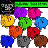 Rainbow Piggy Banks {Creative Clips Digital Clipart}