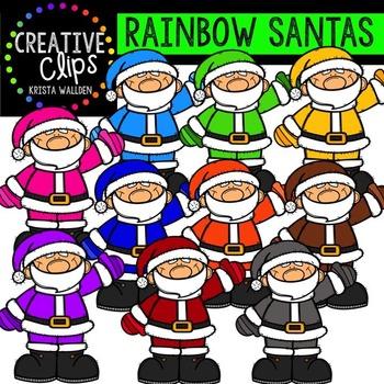 Rainbow Santas {Creative Clips Digital Clipart}