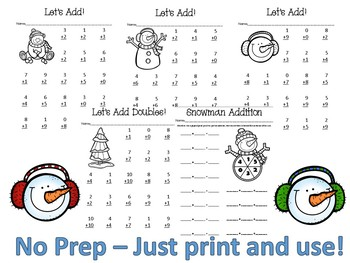 Winter -Theme Single Digit Addition Practice Pages No-Prep
