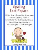 (DOLLAR DEAL) Spelling Test Papers 10 Words/2 Bonus Words Coloring