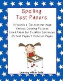 (DOLLAR DEAL) Spelling Test Papers 10 Words/Dictation - Coloring