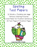 (DOLLAR DEAL) Spelling Test Papers 12 Words/Dictation - Coloring