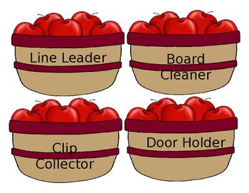 ~DOWNLOADABLE~ Apple Basket with Apples Job Chart - EDITABLE!!!