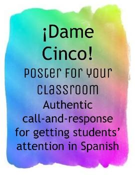 ¡Dame cinco! Classroom poster