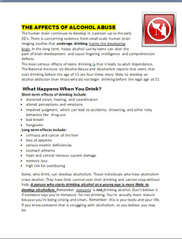 "Safety-""Danger of Tobacco, Alcohol and Drugs"" Writing prompt-Art Activity"