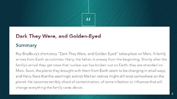 "MyPerspectives: Unit 2 - Dark They Were, and Golden-Eyed"" By Ray Bradhury Lesson"