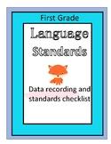 First Grade ELA Standard Checklist & Assessment Data Langu