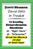 """David Gets in Trouble"" David Shannon 20 Reading Comprehension Questions"