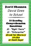 """David Goes to School"" David Shannon 20 Reading Comprehension Questions"