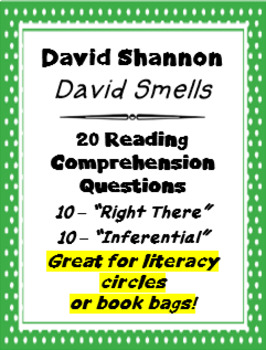 """""""David Smells"""" by David Shannon 20 Reading Comprehension Questions"""