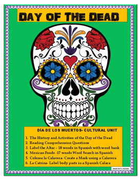"""""""Day of the Dead"""" -Reading & Comprehension Unit- Cultural SUB Plan"""