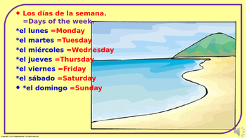"""Days of the Week"" in Spanish.  Power Point Presentation with audio."
