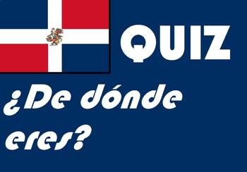 ¿De dónde eres?   Spanish ser quiz or worksheet