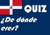 ¿De dónde eres?   Spanish ser quiz or worksheet distance learning