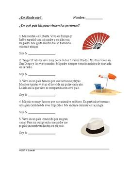 Latin Culture Reading Activity - ¿De dónde soy? (Sub activity)