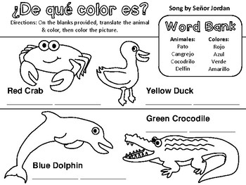 ¿De qué color es? Worksheet: Basic Animals & Colors in Spanish