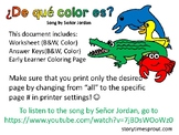 ¿De qué color es? Worksheet: Basic Animals & Colors in Spanish