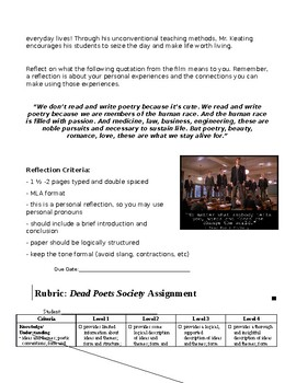 """Dead Poets Society"" Film Reflection & Rubric (CCSS.CCRA.W.4)"