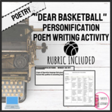 """""""Dear Basketball"""" Personification Poem Writing Activity for High School"""