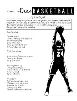 """Dear Basketball"" Poem Writing Activity"