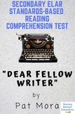 """""""Dear Fellow Writer"""" from My Own True Name by Pat Mora Reading Test"""